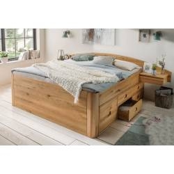 Houten bed - massief eiken of kernbeuken bed met laden