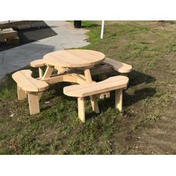 Ronde picknicktafel in Douglas of eikenhout
