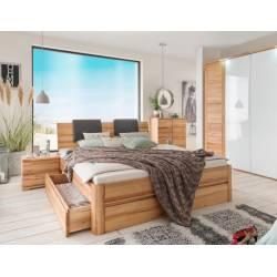 Eiken of beuken houten bed met laden System C